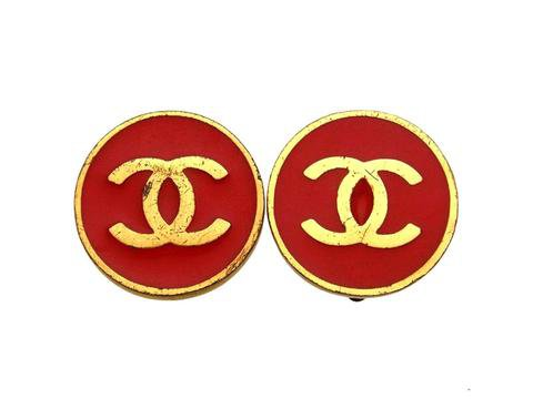 Vintage Chanel earrings CC logo red round | Vintage Five