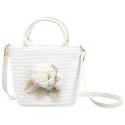 Mayoral - Girls White Straw Bag (23cm)   Childrensalon