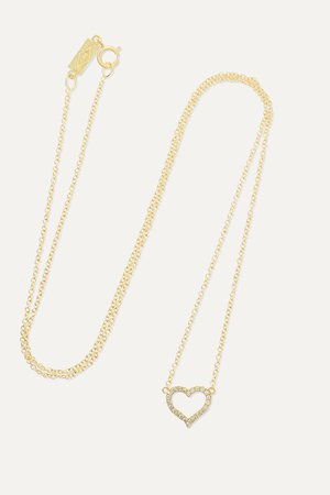 Gold Small Open Heart 18-karat gold diamond necklace | Jennifer Meyer | NET-A-PORTER