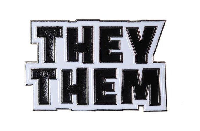 They / Them Nonbinary Enamel Pronoun Pin Silver Black White | Etsy
