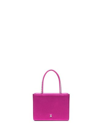 Shop pink Amina Muaddi satin crystal-embellished mini bag with Express Delivery - Farfetch