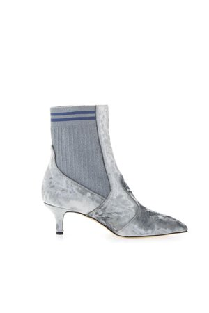 Emanuela Caruso Gray Chenille Ankle Boots