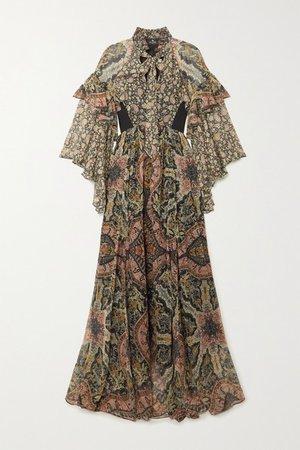 Ruffled Paisley-print Silk-chiffon Maxi Dress - Black