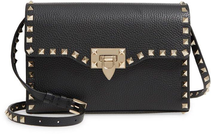 Medium Rockstud Leather Shoulder Bag