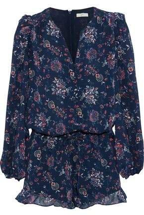 Cherita Ruffle-trimmed Floral-print Silk-chiffon Playsuit