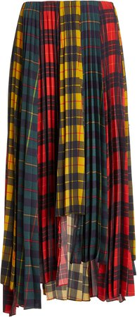 MONSE Paneled Tartan Plaid Skirt