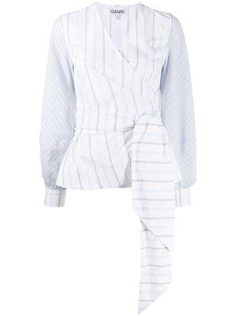 White Ganni Striped Wrap-Front Blouse For Women | Farfetch.com