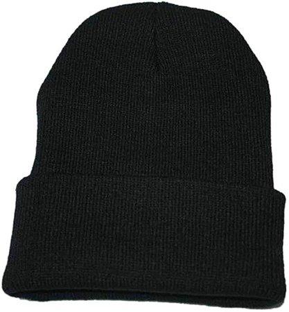 Kimloog Unisex Cuffed Acrylic Knitting Winter Warm Beanie Caps Soft Slouchy Ski Hat (Black) at Amazon Men's Clothing store