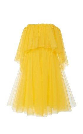 Off-the-Shoulder Tulle Midi Dress by Carolina Herrera