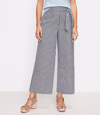 The Tie Waist Pull On Wide Leg Pant in Gingham