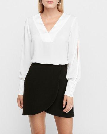 High Waisted Wrap Front Mini Skirt