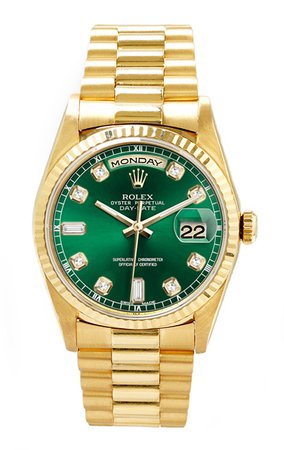 Rolex Men's Day Date President Yellow Gold Fluted Custom Green Diamond Dial