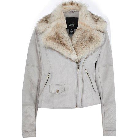 Grey suedette faux fur collar biker jacket | River Island