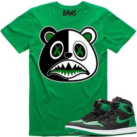MONEY SCAR BAWS Sneaker Tees Shirt to Match - Jordan Retro 1 Pine Green 2020