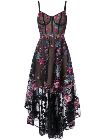 Marchesa Notte Floral High Low Dress