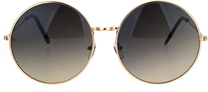 Amazon.com: Classic Oversize Joplin Style Hippie Round Circle Lens Sunglasses Gold Smoke: Clothing