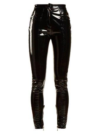 BALMAIN Coated Mid-rise Skinny-leg Trousers In Black