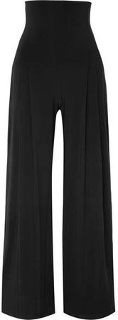 Pleated Stretch-jersey Wide-leg Pants - Black