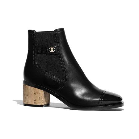 Calfskin, Patent Calfskin & Cork Black Short Boots | CHANEL