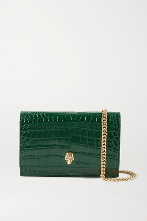 Skull Croc-effect Leather Shoulder Bag - Emerald