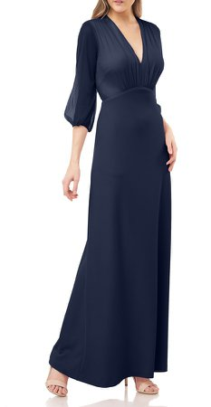 Crepe Gown with Chiffon Sleeves