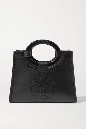 Small Perforated Leather Tote - Black