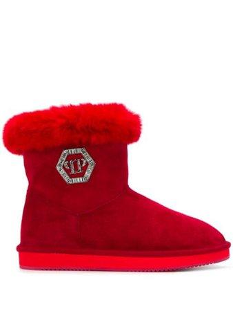 Philipp Plein Crystal Plein Ankle Boots A19SWSE0313PTE003N Red | Farfetch