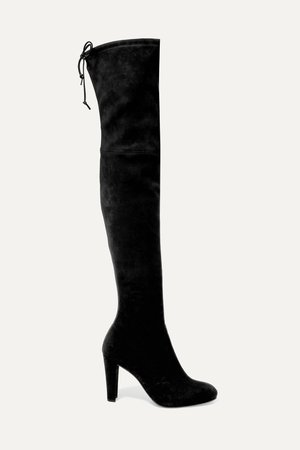 Black Highland stretch-suede over-the-knee boots | Stuart Weitzman | NET-A-PORTER