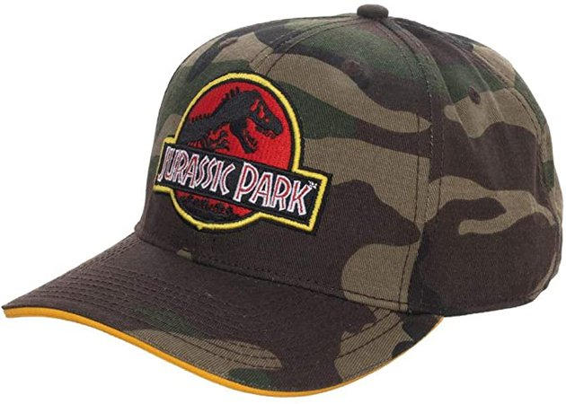 Amazon.com: Bioworld Jurassic Park Camo Dinosaur Pre-Curved Snapback Hat: Clothing