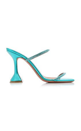 Gilda Crystal-Embellished Metallic Leather Sandals by Amina Muaddi   Moda Operandi
