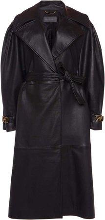 Alberta Ferretti Belted Leather Trench Coat