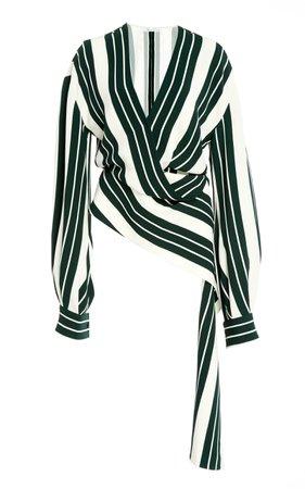 Asymmetric Striped Twill Top by Oscar de la Renta | Moda Operandi