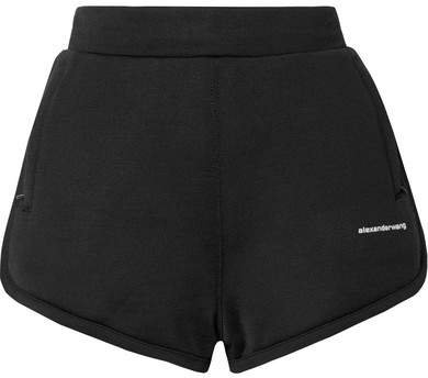 Printed Coated French Cotton-blend Terry Shorts - Black