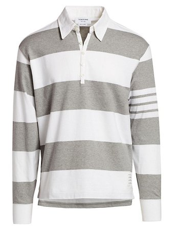 Thom Browne Striped Long-Sleeve Polo Shirt   SaksFifthAvenue