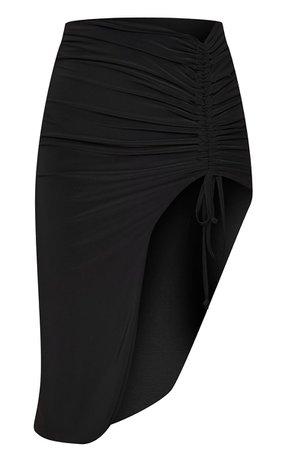 Black Slinky Ruched Side Split Midi Skirt - New In | PrettyLittleThing USA