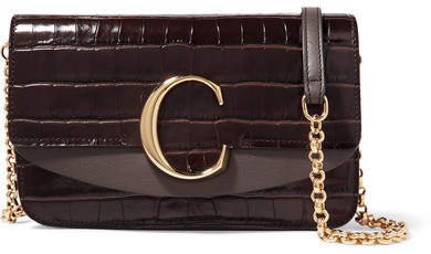 C Mini Croc-effect And Smooth Leather Shoulder Bag - Dark brown