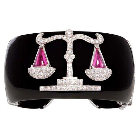 Ella Gafter Libra Zodiac Cuff Bracelet with Diamonds For Sale at 1stDibs