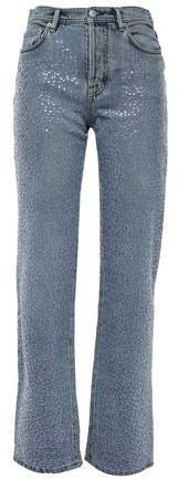Sequin-embellished High-rise Straight-leg Jeans