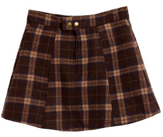 brown plaid mini wool skirt