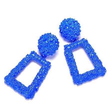 Amazon.com: Royal Blue Metallic Raised Design Rectangle Statement Earrings Fashion Jewelry KELMALL COLLECTION: Jewelry