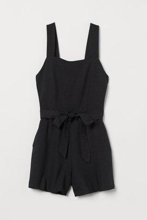Linen-blend playsuit - Black - Ladies | H&M GB
