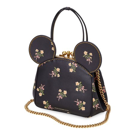 Minnie Mouse Floral Kisslock Leather Bag by COACH