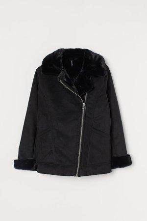 Faux Fur-collar Jacket - Black