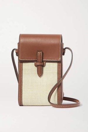 Leather And Raffia Shoulder Bag - Brown