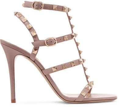 Garavani The Rockstud 105 Leather Sandals - Antique rose