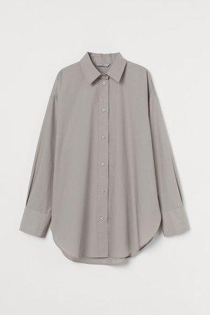 Cotton Poplin Shirt - Brown