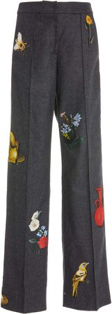 Oscar de la Renta Embroidered Patchwork Wool Cashmere Pants