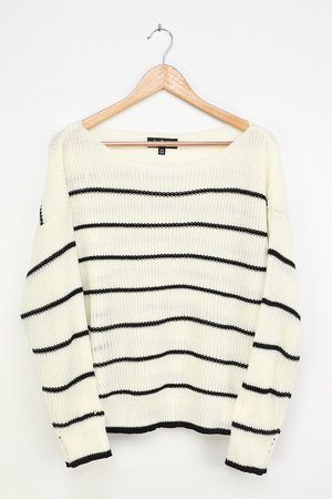 White Striped Sweater - Off-the-Shoulder Sweater - Knit Sweater - Lulus