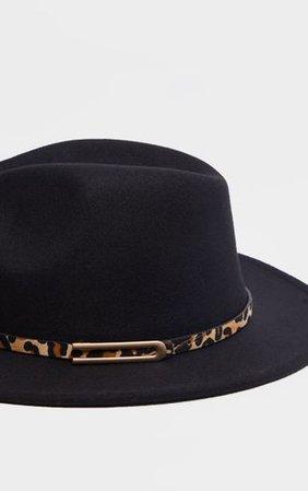 Black Leopard Trim Fedora Hat   Accessories   PrettyLittleThing