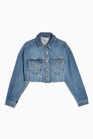 Blue Denim Hacked Off Crop Jacket | Topshop